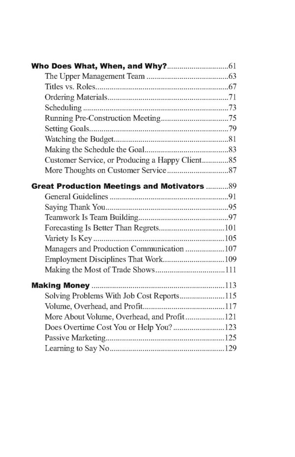 Table of Contents cont